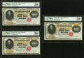 Large Size:Gold Certificates, Cut Sheet of Three Fr. 1225h $10,000 1900 Gold Certificates PMG Choice About Unc 58 EPQ.. ... (Total: 3 notes)