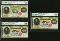 Large Size:Gold Certificates, Cut Sheet of Three Fr. 1225h $10,000 1900 Gold Certificates PMG About Uncirculated 53 EPQ (2); Choice Extremely Fine 45 EPQ.... (Total: 3 notes)
