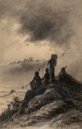 Works on Paper, Astley David Montague Cooper (American, 1856-1924). Coming Storm, 1914. Charcoal on paper. 18-1/2 x 11-3/4 inches (47.0 ...