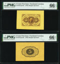 Fractional Currency:First Issue, Fr. 1231SP 5¢ First Issue Wide Margin Pair PMG Gem Uncirculated 66 EPQ.. ... (Total: 2 notes)