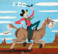 Mary Blair Melody Time Pecos Bill Concept/Color Key Painting (Walt Disney, 1948)