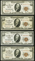 Fr. 1860-B; D; G; L $10 1929 Federal Reserve Bank Notes. Very Fine or Better