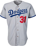 Baseball Collectibles:Uniforms, 1994 Mike Piazza Game Worn Los Angeles Dodgers Jersey with Quasquicentennial Patch....