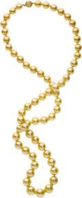 Estate Jewelry:Necklaces, South Sea Cultured Pearl, Diamond, Gold Necklace. ...