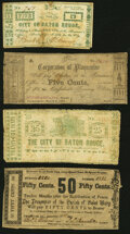 Obsoletes By State:Louisiana, Louisiana Wartime Scrip 1862. . Baton Rouge- City of Baton Rouge 5¢ Fine, large stamp hinge tape repair at back cent... (Total: 4 notes)