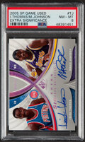Basketball Cards:Singles (1980-Now), 2005 SP Game Used Extra Significance Isiah Thomas/Magic Johnson #XSIG-TJ PSA NM-MT 8 - Serial Numbered 8/25....