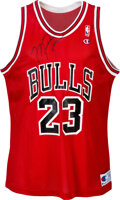 Basketball Collectibles:Uniforms, Circa 1990 Michael Jordan Signed Chicago Bulls Jersey from The Robert C. Scarpetti Collection....