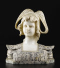 Marble:European, Carved Bust of a Girl. Unknown, Continental. Late 19th Century.Alabaster with marble veneer. 14 inches high. A young gi...