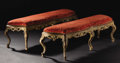 Furniture : Continental, A Pair of Italian Rococo Style Window Benches. Unknown maker,Italy. Nineteenth Century. Painted wood. Unmarked. 19.75 inc...(Total: 2 )