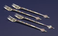 Silver Flatware, American:Gorham, Four American Silver Gilt And Enamel Fish Forks. GorhamManufacturing Co., Providence, Rhode Island. Circa 1880-1890.Mark... (Total: 4 )