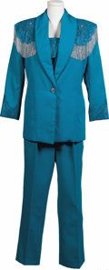 Music Memorabilia:Costumes, Brenda Lee Stage Worn Suit With Autographs. A turquoise stage outfit with hand sewn fringe and rhinestones, used by Lee in t...
