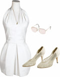 Movie/TV Memorabilia:Costumes, Farrah Fawcett Tennis Dress with Shoes and Sunglasses. Includes asize 6 white tennis dress by A.J. Bari, size 9B beige shoe...