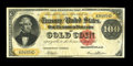 Large Size:Gold Certificates, Fr. 1211 $100 1882 Gold Certificate Very Fine. This Napier-Thompsonsigned Hundred is hugely margined and it appears fully X...