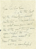 Movie/TV Memorabilia:Autographs and Signed Items, Katharine Hepburn Signed Letter. A single-page, double-sided handwritten letter to Emile LaVigne dated January 7, 1948, writ...