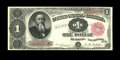 Large Size:Treasury Notes, Fr. 349 $1 1890 Treasury Note Very Fine-Extremely Fine. A half-dozen or so light folds make this note technically a VF, but ...
