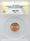 Errors, 1979 1C Elizabeth II One Cent -- Struck on Wrong Blank -- MS60 Red ANACS. (2.05 Grams)....
