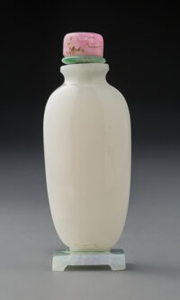 A Chinese White Jade Snuff Bottle on Jadeite Stand 2-1/8 inches (5.4 cm) (snuff bottle)  ... (Total: 2 Items)