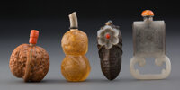 A Group of Four Chinese Snuff Bottles 2-1/4 inches (5.7 cm) (tallest, gray jade example)  ... (Total: 4 Items)