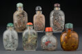 Carvings, A Group of Seven Chinese Inside-Painted Rock Crystal Snuff Bottles. 3 inches (7.6 cm) (tallest). ... (Total: 7 Items)