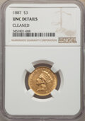 Three Dollar Gold Pieces, 1887 $3 -- Cleaned -- NGC Details. Unc. Mintage 6,000....