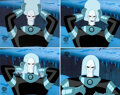 """Animation Art:Production Cel, The New Batman Adventures """"Cold Comfort"""" Mr. Freeze Production Cel Sequence of 4 with Animation Drawing Group of 2 (Wa... (Total: 6 )"""