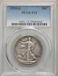 Walking Liberty Half Dollars, 1920-D 50C Fine 12 PCGS. This lot will also include a 1933-S 50C VF35 PCGS.... (Total: 2 item)