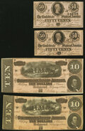 Confederate Notes:Group Lots, T68 $10 1864 PF-1; PF-42 Cr. 540; Cr. 551 Fine; Choice About Uncirculated;. T72 50 Cents 1864 PF-1 Cr. 578 Two Examples Ab... (Total: 4 notes)