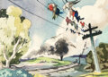 Animation Art:Concept Art, Mary Blair Dumbo Crows Early Concept Painting Original Art (Walt Disney, 1941). ...