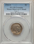 Buffalo Nickels, 1913-S 5C Type Two -- Mount Removed -- PCGS Genuine. Fine Details. This lot will also include a 1914-D 5C -- Scrat... (Total: 2 coins)