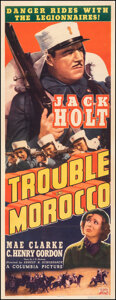 """Movie Posters:Adventure, Trouble in Morocco (Columbia, 1937). Very Fine- on Linen. Insert (14"""" X 36""""). Adventure.. ..."""