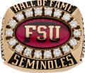 Football Collectibles:Others, 1995 Florida State Seminoles Hall of Fame Ring Presented to Monk Bonasorte....