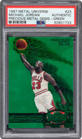 1997 Metal Universe Michael Jordan (Precious Metal Gems – Green) #23 PSA Authentic - #'d 9/100