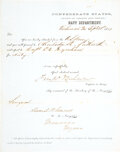 Military & Patriotic:Civil War, Confederate Navy Department stationery: CS Surgeon Daniel B. Conrad, stationed in Manassas, Va., is to report to his n...