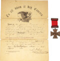 Military & Patriotic:Civil War, Civil War Kearny Cross Presented to Sergeant James P. Fraser Co. A 68th Regiment Pennsylvania Infantry [WIA Chancellorsville].... (Total: 2 Items)