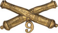 Military & Patriotic:Civil War, 9th Massachusetts Light Artillery Crossed Cannons Badge To Private Alfred Clement.. ...