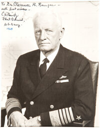 Admiral Chester Nimitz: Inscribed Photo to Dr. Clarence Rungee