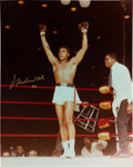 Boxing Collectibles:Autographs, 1996 Muhammad Ali Signed Oversized Photograph with Event Ticket....