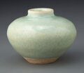 Ceramics & Porcelain, A Chinese Celadon Jar, Yuan Dynasty. 2-1/2 x 3-1/2 inches (6.4 x 8.9 cm). ...