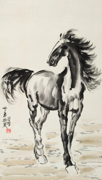 Attributed to Xu Beihong (Chinese, 1863-1957) Horse Ink on paper 32 x 17-1/2 inches (81.3 x 44.5