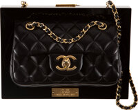 "Chanel Runway Black Lambskin Leather & Plexiglass Framed Flap Bag with Brushed Gold Hardware Condition: 1 8.5""..."