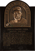 Baseball Collectibles:Others, 1997 Jimmie Foxx Boston Red Sox Hall of Fame Induction Plaque....