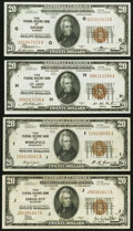 Fr. 1870-G; H; I; J $20 1929 Federal Reserve Bank Notes. Very Fine or Better
