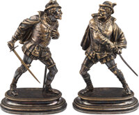 Dueling Cavalier Bronzes by Belle Epoque Artist Emile Guillemin (1841-1907). ... (Total: 2 Items)