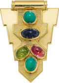 Estate Jewelry:Brooches - Pins, Retro Multi-Stone, Gold Brooch, Cartier, French. ...
