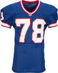 Football Collectibles:Uniforms, 1996 Bruce Smith Game Worn, Unwashed & Signed Buffalo Bills Jersey with Equipment Manager Provenance - 7 Team Repairs from NFL...