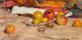 Paintings, Richard Alan Schmid (American, b. 1934). Still Life with Apples. Oil on canvas. 12 x 24 inches (30.5 x 61.0 cm). Signed ...