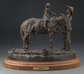 Sculpture, Harold Holden (American, b. 1940). Pioneer, 1991. Bronze with brown patina. 12 inches (30.5 cm) high on a 1-1/2 inches (...