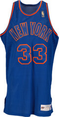 Basketball Collectibles:Uniforms, 1996-97 Patrick Ewing Game Worn New York Knicks Throwback Jersey with 50th Anniversary Logo & Equipment Manager Provenance....