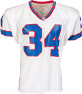 Football Collectibles:Uniforms, 1992 Thurman Thomas Game Worn & Signed Buffalo Bills Jersey with Equipment Manager Provenance - 10 Team Repairs & Photo Matche...
