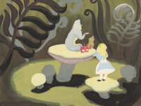 Mary Blair Alice in Wonderland Caterpillar Concept Painting (Walt Disney, 1951)